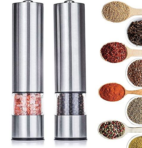 Tebery, set di 2 macinini elettrici per sale e pepe, funzionamento a batteria, in acciaio inox spazzolato, piastre regolabili e contenitori ricaricabili, 22,5 cm x 5,2 cm, colore: argento