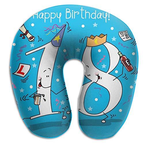 KIENGG Happy Birthday 18 U Shaped Neck Pillow Case Memory Foam,Unique Travel Rest Pillow Pain,Breathable Soft Comfortable Adjustable