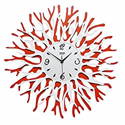 BYLE Wall Clock Quartz Mute Non-Ticking Silent Kitchen Living Room Battery Creative Stylish Coral Flower Fine Clock Drugs Import Engine Artist Home Decor Wall Clock