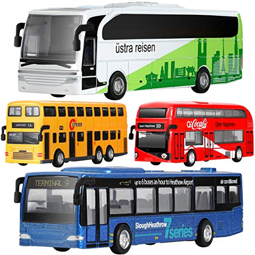 GEYIIE Bus Toys Set Of 4, Kids Die-Cast Metal Toy Cars, Pull Back Car City Bus 1:80 scale Double Decker London Vehicles, Friction Powered Cars Play Set Toys Gift For Boys Girls Toddlers 3-8 Years Old