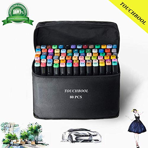 80 Farben Permanent marker Stifte Set Erwachsene und Kinder Zeichnen Set zum Zeichnen Graffiti Stiftbreite und dünne Doppelspitze Spitze (schwarze Reißverschlusstasche)