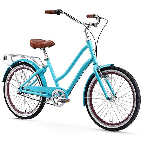 """sixthreezero EVRYjourney Women's 3-Speed Step-Through Hybrid Cruiser Bicycle, 24"""" Wheels and 14"""" Frame, Teal with Brown Seat and Grips"""