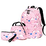 Sueño Unicornio Set de Bolsas Escolares, Junlion Suave Bolsa de Poliamida Mochila para Laptop Bolsa del Almuerzo Estuche de Lapices para Alumnos Empleado de Oficina Rosa
