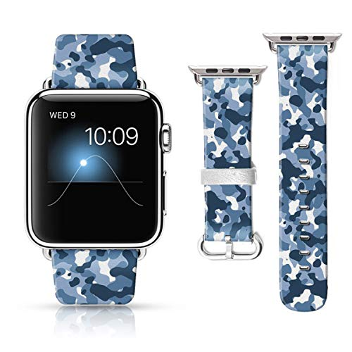 LAACO Leather Band Compatible with iWatch SE Series 6 42mm 44mm, Genuine Leather Fadeless Pattern Printed Vintage Replacement Strap Classic Bands Compatible with iWatch 6/5/4/3/2/1 Gray Camouflage