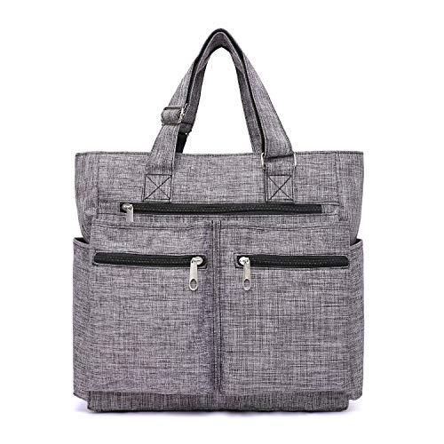 Canvas Tote Bag Waterproof Nylon Multi Pocket Shoulder Bags Laptop Work Bag Teacher Purse and Handbags for Women & Men (Grey 2)