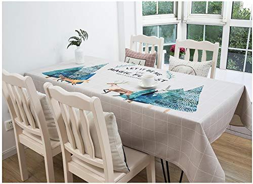 Telihome Nappe Coton et Lin Aquarelle Elk Cloth Art Literary Rectangulaire Géométrique Motif Imperméable Table Cloth, Love Life, 140 * 140Cm