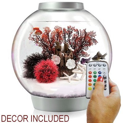 biOrb Classic 15 Liter Silver Aquarium w/MCR Lighting and Red Forest Decor Set Bundle
