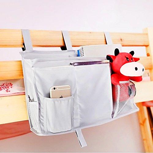 Surenhap Bett-Organizer, Aufbewahrungstasche für Studenten, zum Organisieren von Zeitschriften, Tablets, Handys, Kleinigkeiten grau