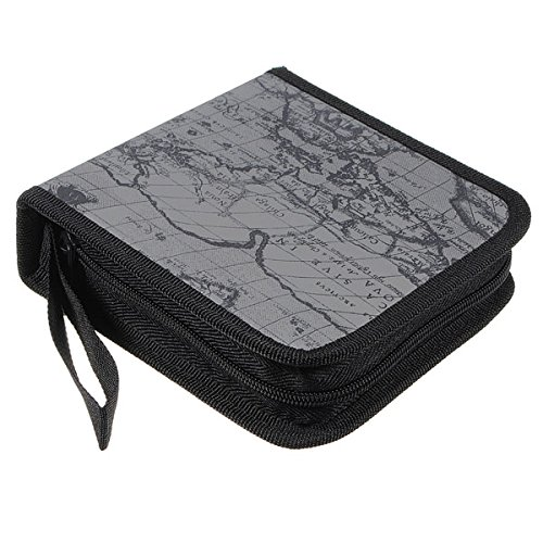 SODIAL(R) 40 Disc Fashion Map CD DVD Storage Holder Sleeve Case Box Wallet Bag Album Zipper - grey