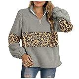 Women's Long Sleeve Leopard Block Zipper Sherpa Sweatshirt Soft Fleece Pullover Sweater Coat by Vanankni