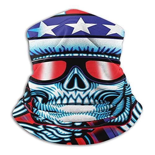 MZZhuBao Calavera con gafas – Polaina máscara facial pasamontañas Headwear Bandana a prueba de polvo corte UV calentador de cuello ajustable para hombre mujer negro