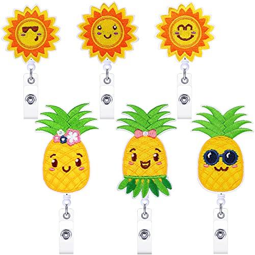 6 Pieces Pineapple Badge Reel Holder Sunflower Badge Clip for Nurse Summer Felt Badge Reel Holder with Alligator Clip Cute ID Card Holder for Nurse Volunteer Student Office Worker