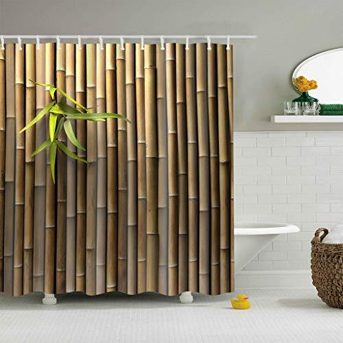 zhanghui2018 Bambus-Vorhang aus strapazierfähigem Stoff, schimmelresistent, Badezimmer-Zubehör, kreativ, mit 12 Haken, 180 x 180 cm