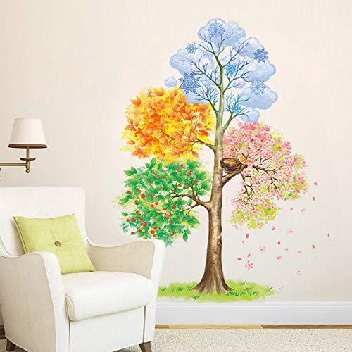ufengke Wandtattoo Vier Jahreszeiten Baum wandaufkleber Wandsticker Abnehmbare Vinyl für Schlafzimmer Wohnzimmer