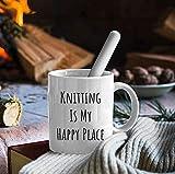 N\A Knitting is my Happy Place Taza de cerámica de 11 oz