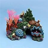 DAGUAI Plantas de Acuario Artificial Plantas acuáticas Decoración de rocoses Resina de Acuario Concha de Coral Cáscaras for el Paisaje del Tanque de Peces (Color : Brown, Size : 14x9.5x10cm)