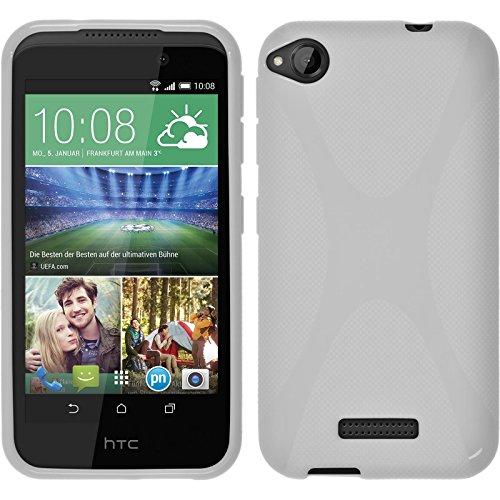 PhoneNatic Case kompatibel mit HTC Desire 320 - weiß Silikon Hülle X-Style + 2 Schutzfolien