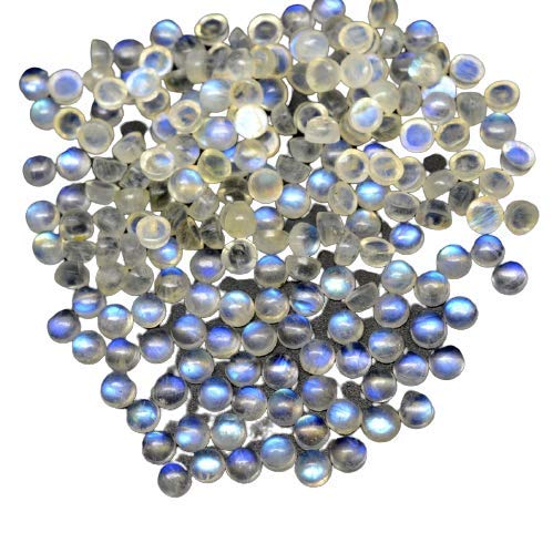 Meadows Rainbow Moonstone 5mm Round Cabochon Gemstone Calibrated Rainbow Moonstone Gemstone Blue Fire Rainbow Moon Cabs Gemstone 1pcs (0.60Cts)