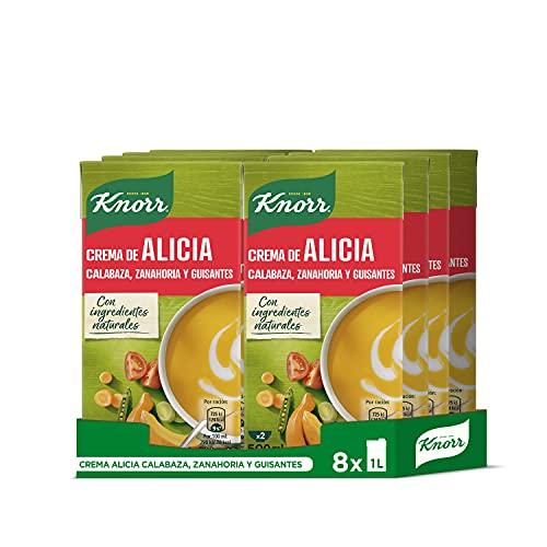 Knorr - Crema Alicia Calabaza, Zanahoria y Guisantes sin Conservantes ni Colorantes Artificiales, Pack of 8 x 1L