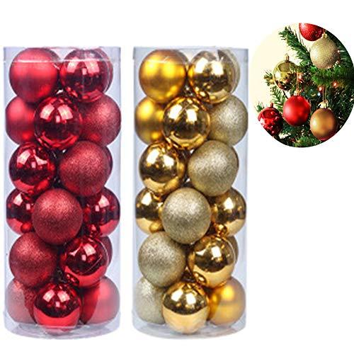Xinlie kerstballen glazen ballen doos onbreekbare kerstballen boomballen boomversiering kerstdecoratie kerstboomballen voor glanzend glinsterende kerstdecoratie hanger 3 cm / 1,18 inch (48 stuks)