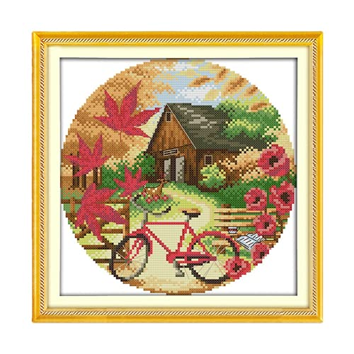 GXJHZY Cloth cross stitch, ecological cotton 11ct4 printing cloth autumn scene small landscape living room (33 x 33 cm)