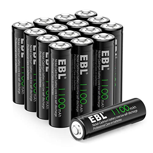 EBL AA Rechargeable Batteries for Solar Lights Replacement, 1100mAh High Performance Ni-CD Battery(Pack of 16)