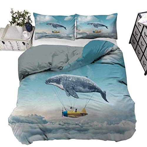 UNOSEKS LANZON Duvet Cover Dream Airship Fairy Fantasy Over the Clouds Cloudscape Whale Earth Planet Breathable Comforter Case Set Soft and Doesn't Wrinkle Grey Yellow Blue Full - 203 x 230 CM