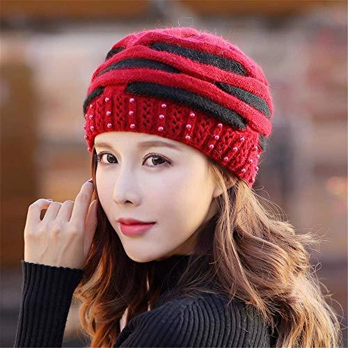 MZHAOANHE Bonnet d'hiver Tricoté en Ligne avec Un Bonnet D'Âge Moyen,Rouge Oxford
