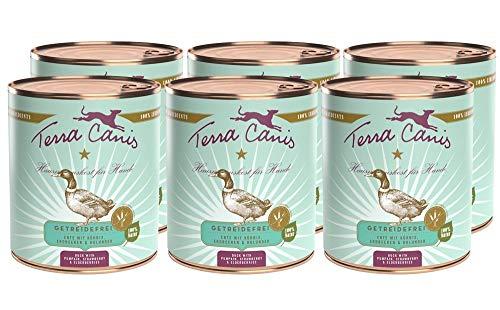 Terra Canis Getreidefreies Nassfutter I Reichhaltiges Premium Hundefutter in echter Lebensmittelqualität mit Ente, Kürbis & Erdbeere I 6 x 800g, allergenarm & glutenfrei