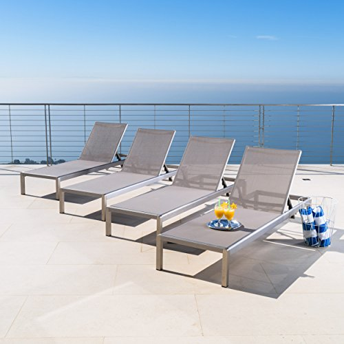 Crested Bay | Outdoor Aluminum Chaise Lounge Chair | Set of 4 | in Grey