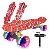 Monopatín Completo Mini Cruiser Skateboard 22' Retro Skate Board para Niños Adolescentes Adultos, Ruedas con Luz LED y Herramienta en T de Patinaje Todo en Uno (Mess Print)