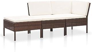 vidaXL Zestaw mebli ogrodowych 3-częściowy z nakładkami, zestaw do siedzenia, zestaw wypoczynkowy, sofa ogrodowa, sofa nar...