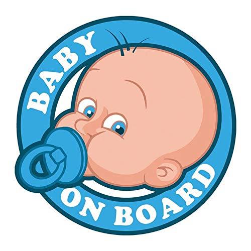 EROSPA® Auto-Aufkleber KFZ - Baby On Board - Junge mit Schnuller - Car-Sticker (Blau)