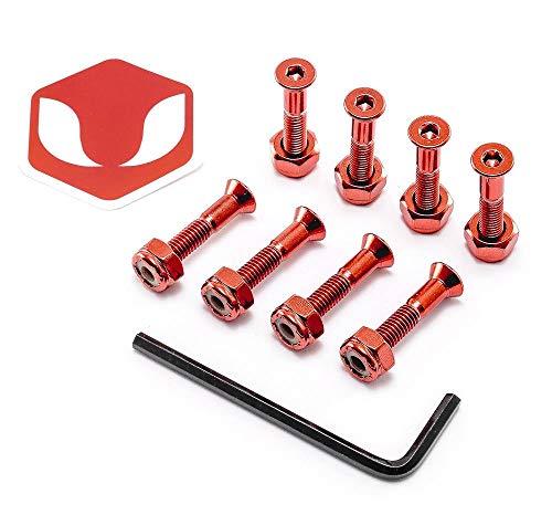 Venom 2,5 cm – Inbusschlüssel eloxiert Skateboard Deck x8 Achsen Montageschrauben/Schrauben/Hardware, rot