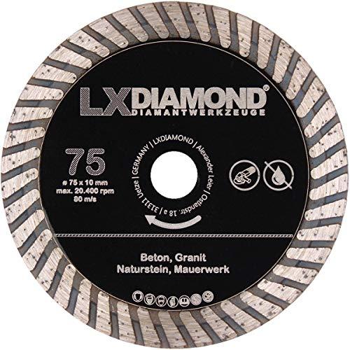 LXDIAMOND Diamant-Trennscheibe 75mm x 10,0mm Premium Diamantscheibe für Beton Granit Naturstein Mauerwerk passend für BOSCH GWS 12V-76 Winkelschleifer 76mm