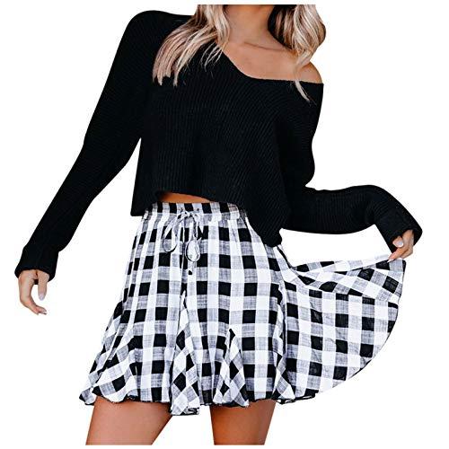 STRIR-Mono Mini Falda Mujer Plisada Escocesa Elegante Invierno Alta Cinturilla Elstica de la Colegiala Japonesa Falda Escocesa Cintura Alta Elstica para Chicas Disfraz Animadora (Negro, L)