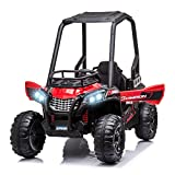 Aosom 12V Battery-Powered Kids Electric Ride On Car Off-Road UTV Toy 1.8-3.7 mph with High Roof Parental Remote Control Music Lights MP3 Suspension Wheels for 3-8 Years Old Red
