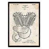 Nacnic stampa artistica brevetto Harley Davidson, motore a combustione sfondo vintage. Disegno, vecchie invenzioni. Stampato su Carta da 250 Grammi di Alta Qualità. . o fare il regalo perfetto.