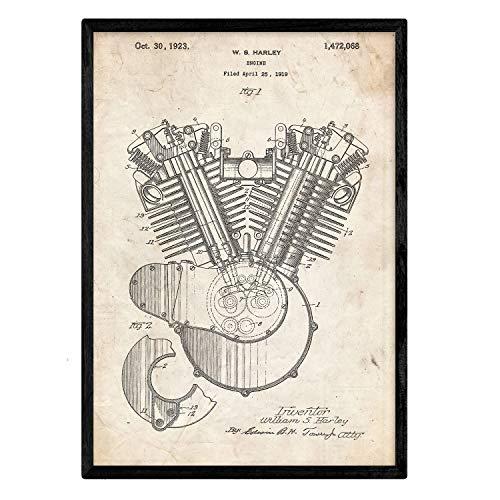 Nacnic Stampa Artistica Brevetto Harley Davidson, Motore a combustione Sfondo Vintage. Disegno, Vecchie invenzioni. Stampato su Carta da 250 Grammi di Alta qualità. o Fare Il Regalo Perfetto.