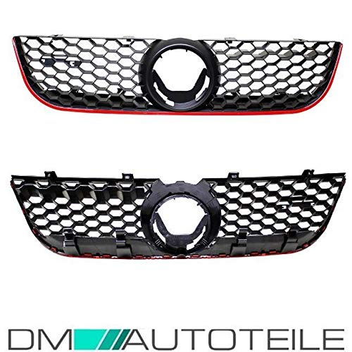 DM Autoteile Polo 9N3 GTI Kühlergrill Frontgrill Grill Gitter Wabengrill 05-09 Schwarz Rot