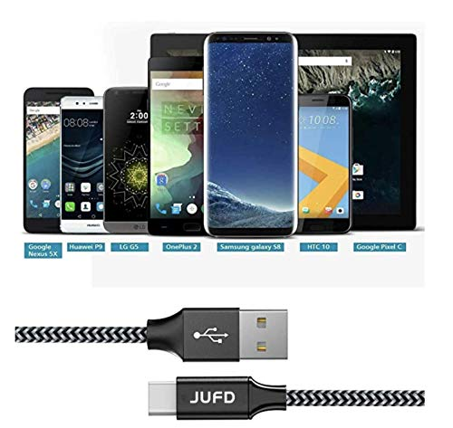JUFD USB Typ C Kabel, 0.5M (2Pack) Nylon geflochten Type C Ladekabel und Datenkabel Fast Charge Sync schnellladekabel für Samsung S9/S8/Note8, Huawei P20/P10/Mate10/Nova2, Honor8/9/View10