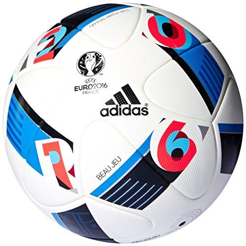 adidas Herren Ball EURO 2016 Official Match, White/Bright Blue/Night Indigo, 5