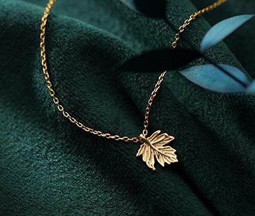 JFHGNJ Echte 925 Sterling zilveren Choker Ketting Zoete Esdoorn Leaf Charm Hanger Kettingen voor Vrouwen Meisjes Sieraden