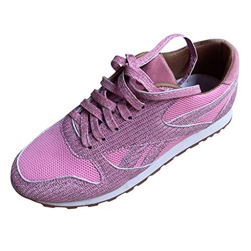 WOZOW Femmes Occasionnelle Bling Respirant Lacets Sport Chaussures De Course Baskets Chaussure Tennis Bi-matière Femme Strass Diamant(Rose,42)
