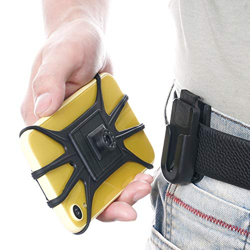 SUNHOME Soporte universal para cinturón de teléfono con red de sujeción de silicona para iPhone 12 11 Pro Max, Galaxy, 4.5-6.5 pulgadas teléfonos - negro