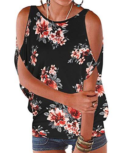 YOINS - Blusa informal de verano con los hombros descubiertos, cuello escotado, cierre anudado y estampado floral para mujer Floral-b-negro XS