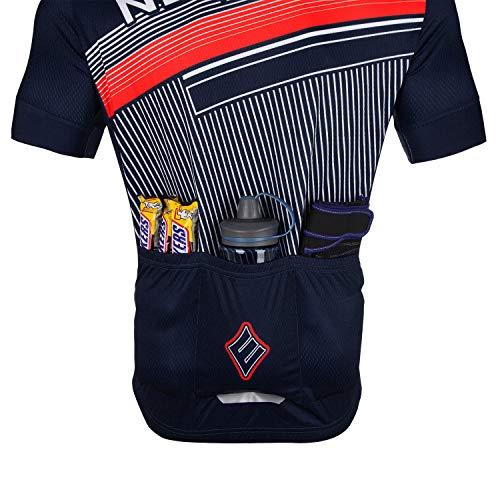NEENCA Herren Radtrikot Fahrradtrikot Kurzarm Sport T- Shirt Schnelltrockendes Atmungsaktives Elastisches Radshirts mit DREI Rückentaschen und Reißverschluss aus Polyester - 3