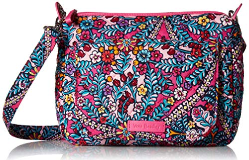 Vera Bradley Signature Cotton Carson Mini Shoulder Bag Crossbody Purse, Kaleidoscope