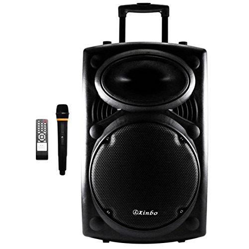 Xinbo Altavoz Trolley Karaoke Bluetooth Inalámbrico con Micrófono Sistema de Sonido Exterior USB/Radio/SD MMC Card 12V