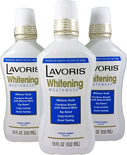 Whitening Mouthwash by Lavoris LARGER SIZE Whitens with Natural Long Lasting Mint - 3 Pack of 18 oz Bottles